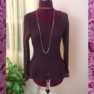 Pretty burgundy crochet peplum top
